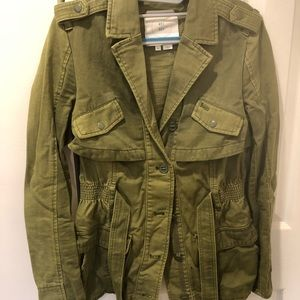 Army green jacket with ruffles from Anthropologie
